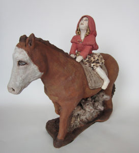"Patty Weisman - ""Little Red Riding Hood"" - Clay Sculpture 17"" x 19"" 2012"